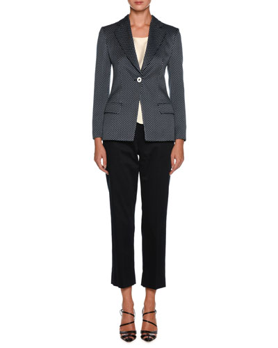 Dotted One-Button Silk-Cotton Jacket and Matching Items