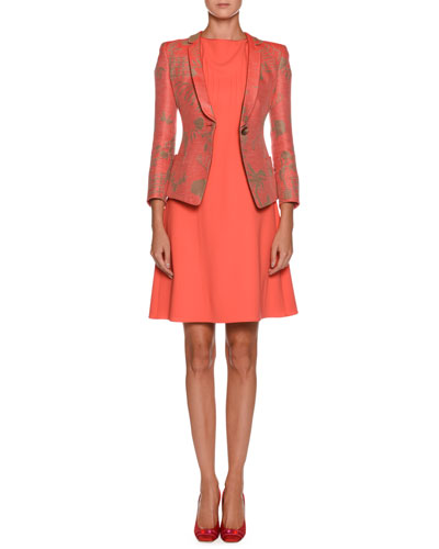 High-Neck Cap-Sleeve Pintucked A-Line Wool Dress and Matching Items