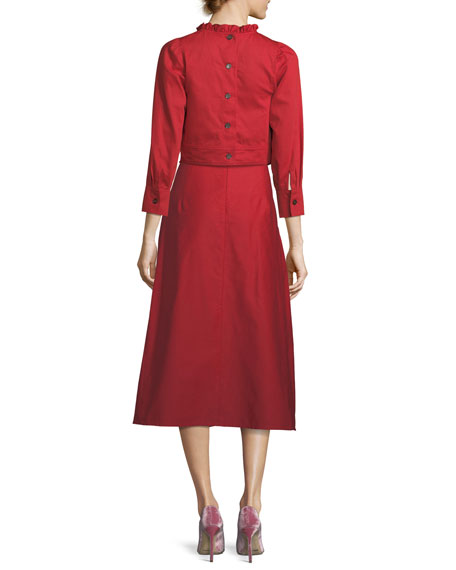 Ankle-Length A-Line Cotton-Linen Midi Skirt