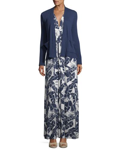 Long Sleeveless Palm-Leaf-Print Dress  and Matching Items
