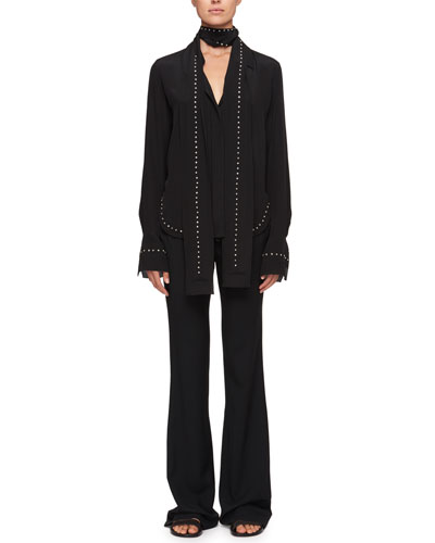 Scarf-Neck Crepe De Chine Silk Shirt w/ Rhinestone Embroidery and Matching Items