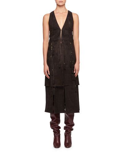 Sleeveless Suede Waistcoat with Lacing Charms and Matching Items