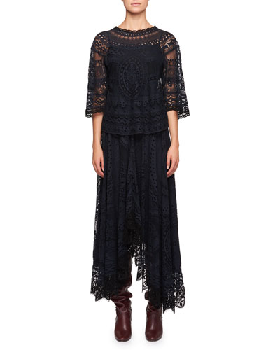 Tablecloth Lace Elbow-Sleeve Shirt and Matching Items