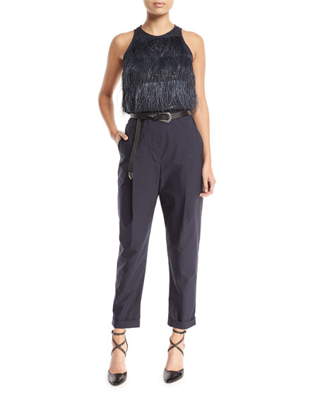 Feather Tiered Top Crinkled Cotton Jumpsuit