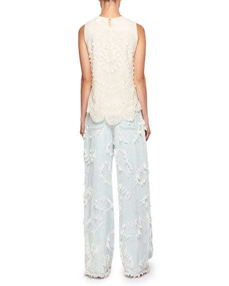 Feathered-Jacquard Wide-Leg Jeans