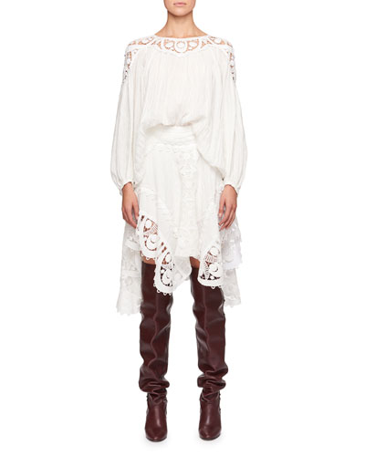 Long-Sleeve Linen Cheesecloth Top w/ Lace Guipure and Matching Items