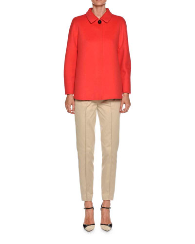Straight-Leg Side-Zip Cotton Pants and Matching Items