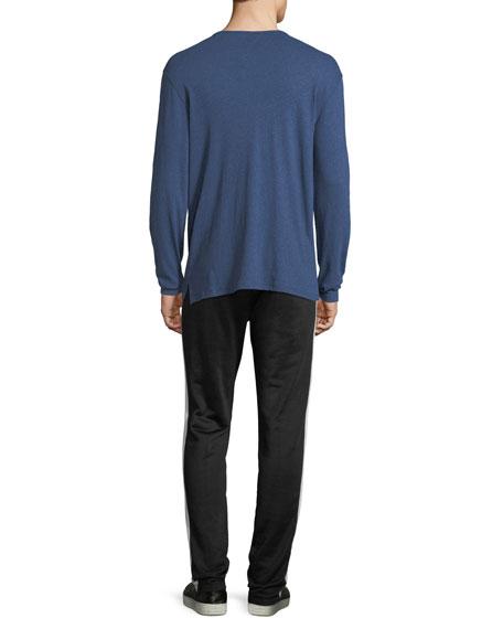 Raw-Edged Long-Sleeve Henley Shirt