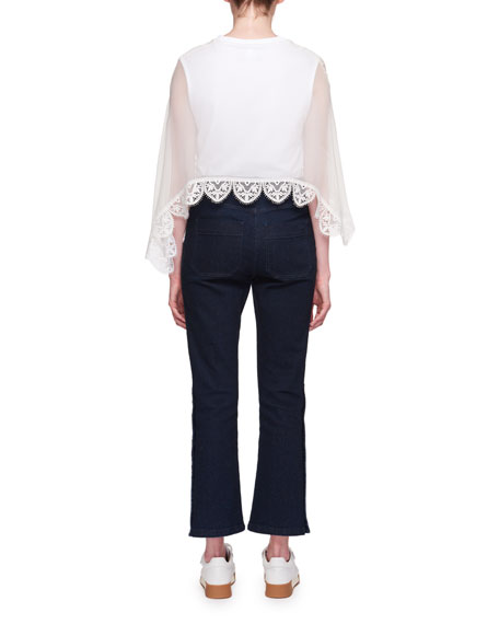 Short-Sleeve Lace-Cape Jersey T-Shirt