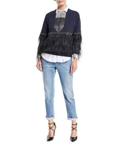 Distressed Straight-Leg Denim Jeans w/Rolled Hem and Matching Items
