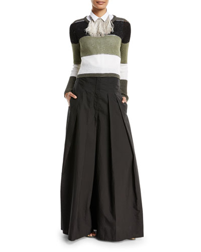 Crinkled Cotton Wide-Leg Skirt Pants  and Matching Items