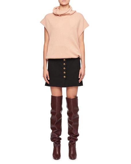 Button-Front A-Line Wool Skirt