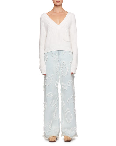 Feathered-Jacquard Wide-Leg Jeans and Matching Items