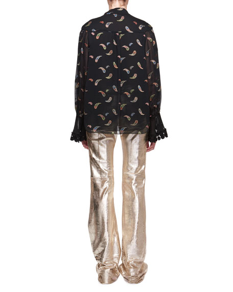 Paisley Metallic Jacquard Long-Sleeve Silk Blouse