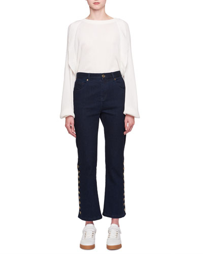 Five-Pocket Flared-Leg Cropped Jeans w/ Button Trim and Matching Items