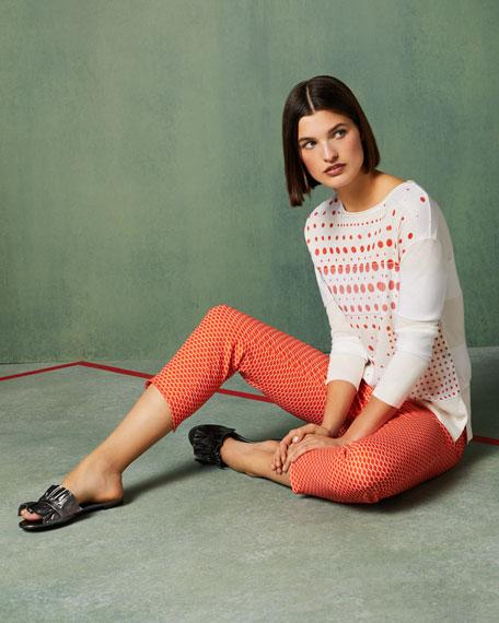 Crewneck Long-Sleeve Dot-Print Sweater