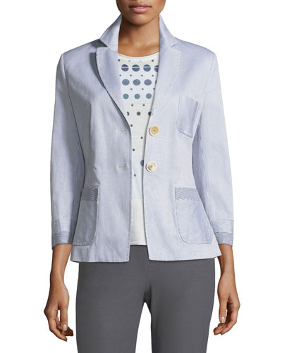 Two-Button Fitted Seersucker Blazer and Matching Items