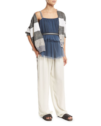 Tiered Pleated Tulle Top with Monili Straps and Matching Items