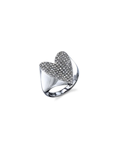 Pavé Diamond Heart Ring, Size 7 and Matching Items