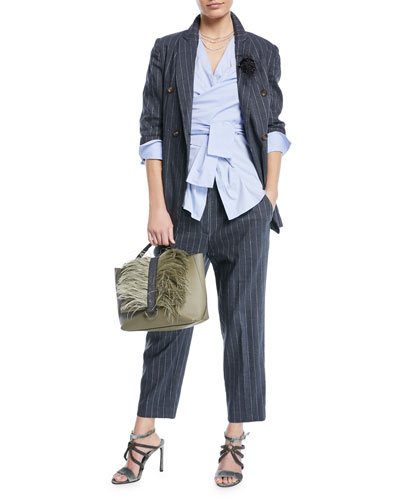 Linen Pinstripe Straight-Leg Pants with Monili Tab and Matching Items