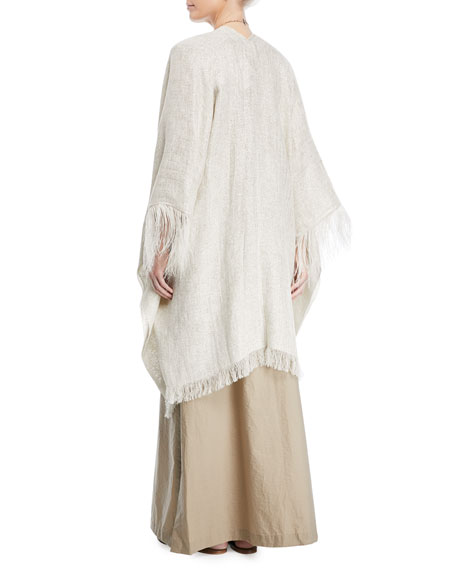 Open-Front Linen-Lurex® Poncho with Feather Cuff