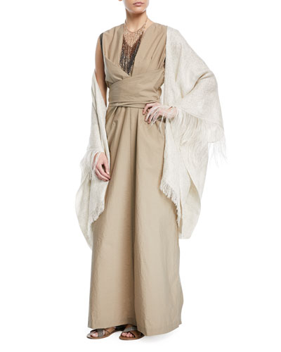 Open-Front Linen-Lurex® Poncho with Feather Cuff and Matching Items