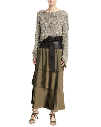 Waxed Cotton-Linen Tweed Cropped Pullover with Clear Paillettes and Matching Items