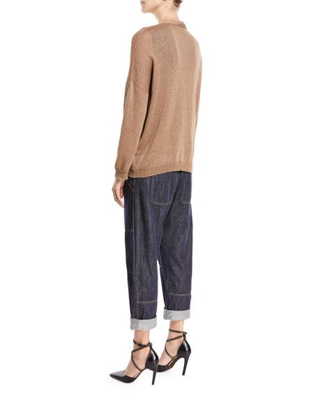 Linen-Silk Open-Front Paillette Cardigan with Belt