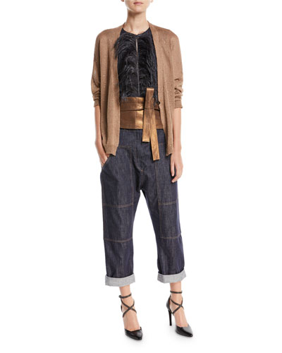 Straight-Leg Utility Denim Pants with Grosgrain Belt and Matching Items