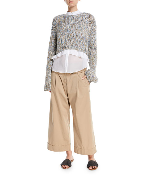 Cotton Poplin Sleeveless Button-Front Blouse with Chiffon Hem