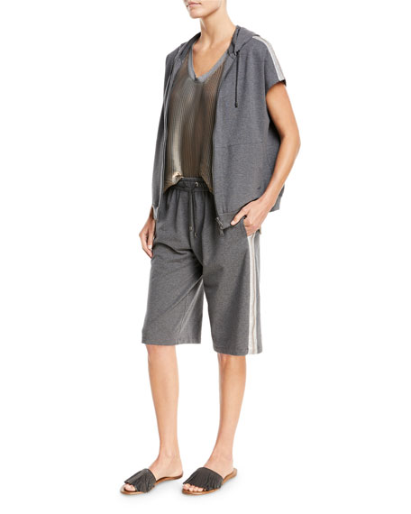 Short-Sleeve Zip-Front Hooded Sweatshirt with Metallic Stripe