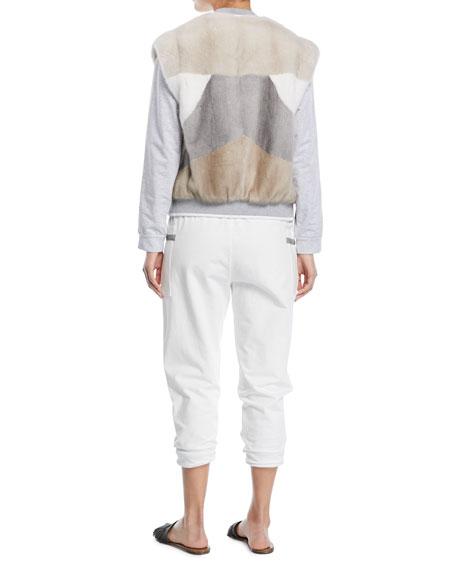 Crewneck Long-Sleeve Sweatshirt with Varsity Stripe