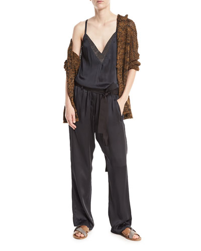 V-Neck Sleeveless Belted Wide-Leg Jumpsuit with Monili Trim and Matching Items