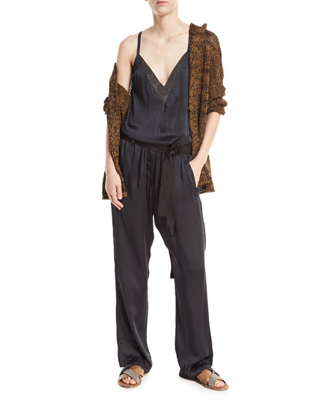 Open-Front Linen-Hemp Metallic Hooded Cardigan with Belt