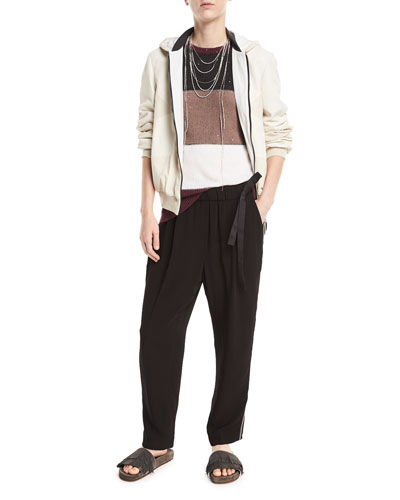 Zip-Front Leather and Suede Hooded Jacket and Matching Items