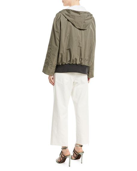 Taffeta Zip-Front Hooded Jacket