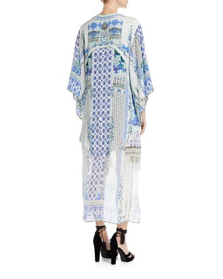 Open-Front Beaded Silk Kimono Coverup, One Size