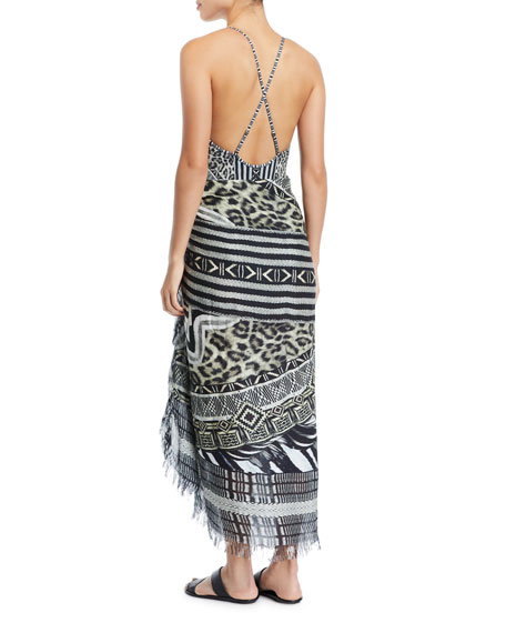 V-Neck Printed One-Piece Swimsuit with Beaded Embellishments
