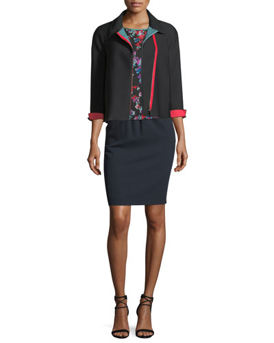 Zip-Front 3/4-Sleeves Honeycomb-Textured Jacket  and Matching Items