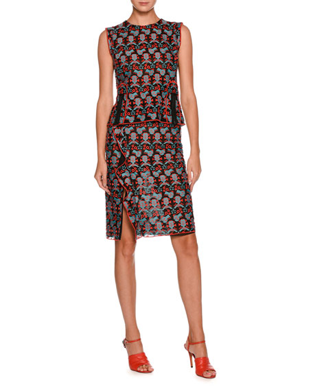 Sleeveless Jacquard Top With Front Zip