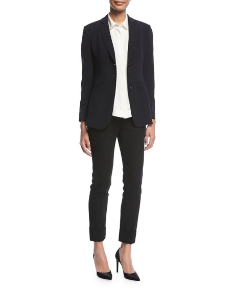 Emporio Armani Notched-Lapels 3-Button Tailored Wool Blazer and