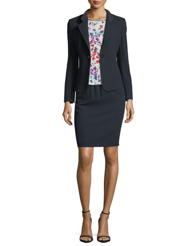 Notched-Lapel One-Button Wool Jacket and Matching Items