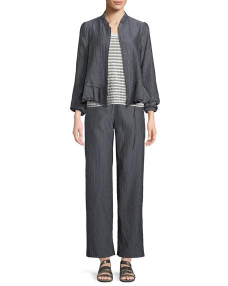 Crinkle-Cotton Zip-Front Peplum Jacket