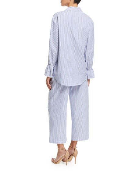 Striped Poplin Oversized Shirt with Flared Cuff
