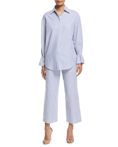 Striped Poplin Oversized Shirt with Flared Cuff and Matching Items