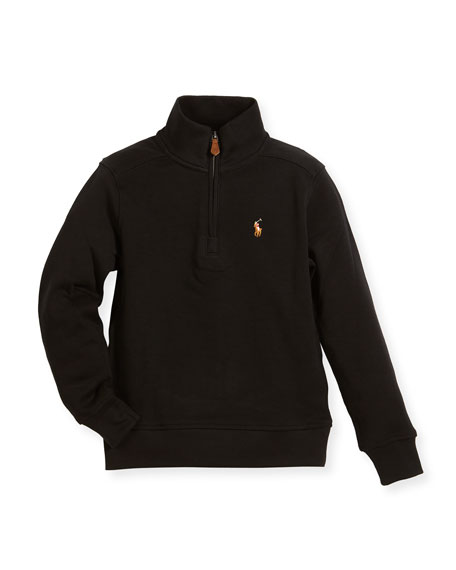 Pima Cotton Half-Zip Pullover Half-Zip Sweater, Black, Size 2-4