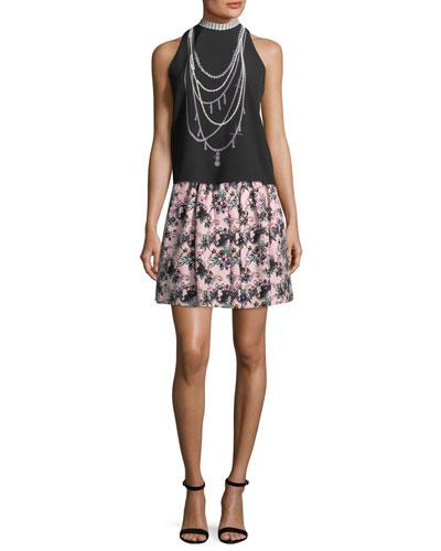 Floral-Print Matelassé Skirt and Matching Items