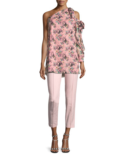 Floral Cameo-Print One-Shoulder Silk Tunic and Matching Items