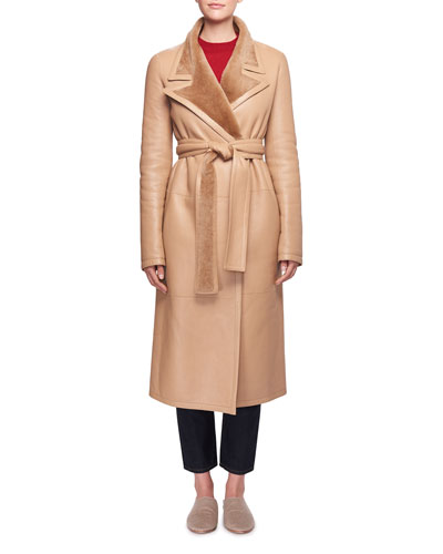 Cintry Belted Long Leather Coat with Shearling and Matching Items