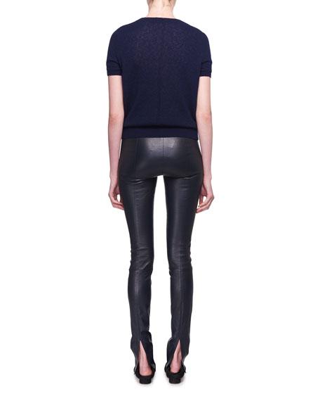 Tati Crewneck Short-Sleeve Cashmere Top